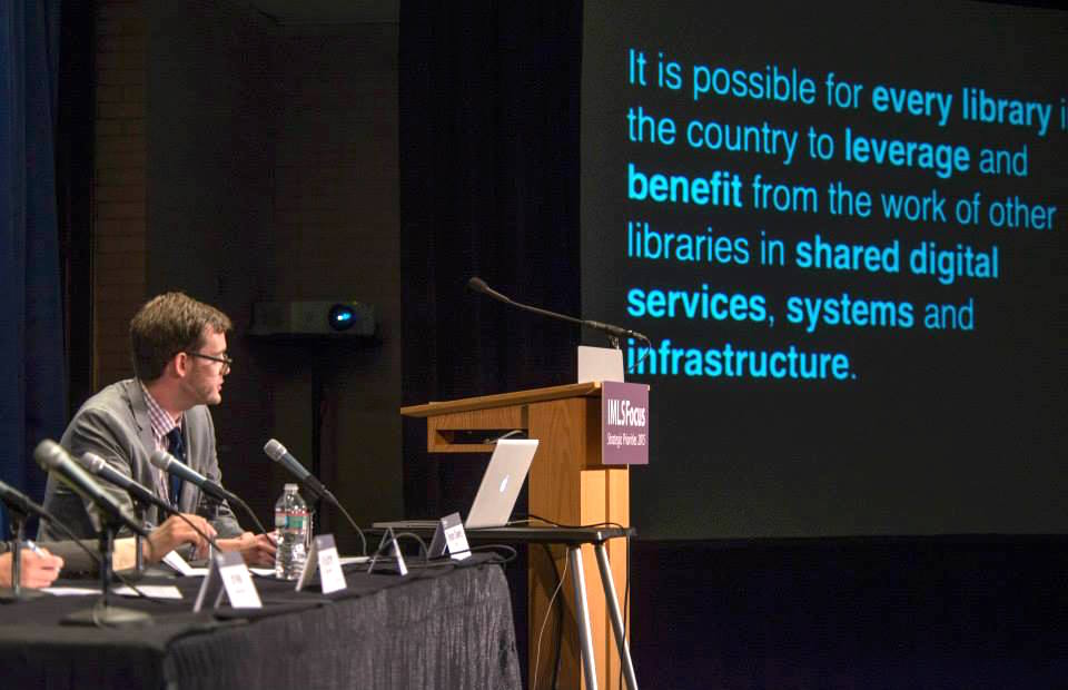 """Trevor Owens, Senior Program Officer at IMLS, opening the """"Defining and Funding the National Digital Platform"""" panel at the IMLS Convening at the DC Public Library on April 28, 2015 to address the National Digital Platform."""