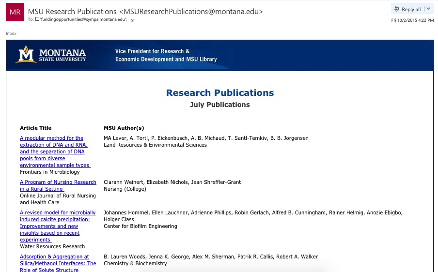 Figure 1.3 - An example of a research publications email generated from our application data