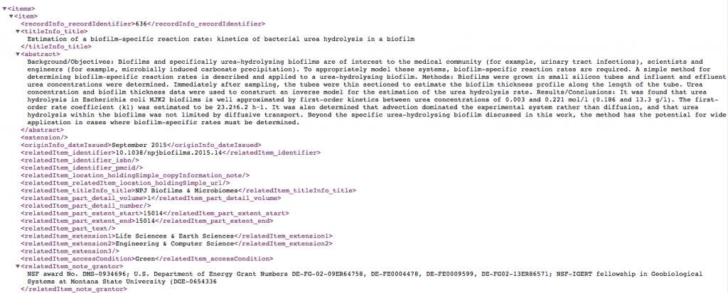 Figure 1.2 Providing structured data via an API to allow others to use our citation data (Example API response: http://arc.lib.montana.edu/msu-research-citations/api?v=1&date=2015-09&format=xml)