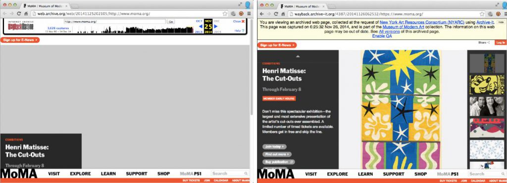 Fig.1. Two archival versions of the Museum of Modern Art's homepage from the same time period. Left: As archived on November 25, 2014, by the Internet Archive's automated web crawler and replayed through the Wayback Machine. Right: As archived on November 26, 2014, assured for quality, and replayed by NYARC using the Archive-It subscription service.