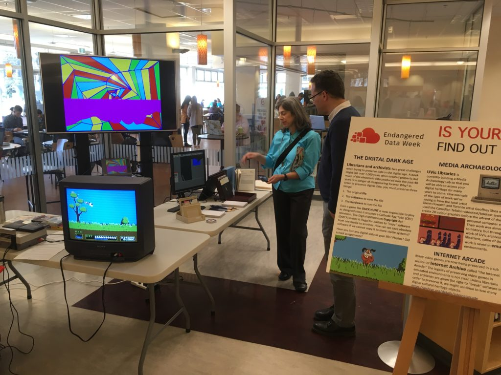 Figure 3: John Durno talks about Telidon Art while Duck Hunt is ready for player 1
