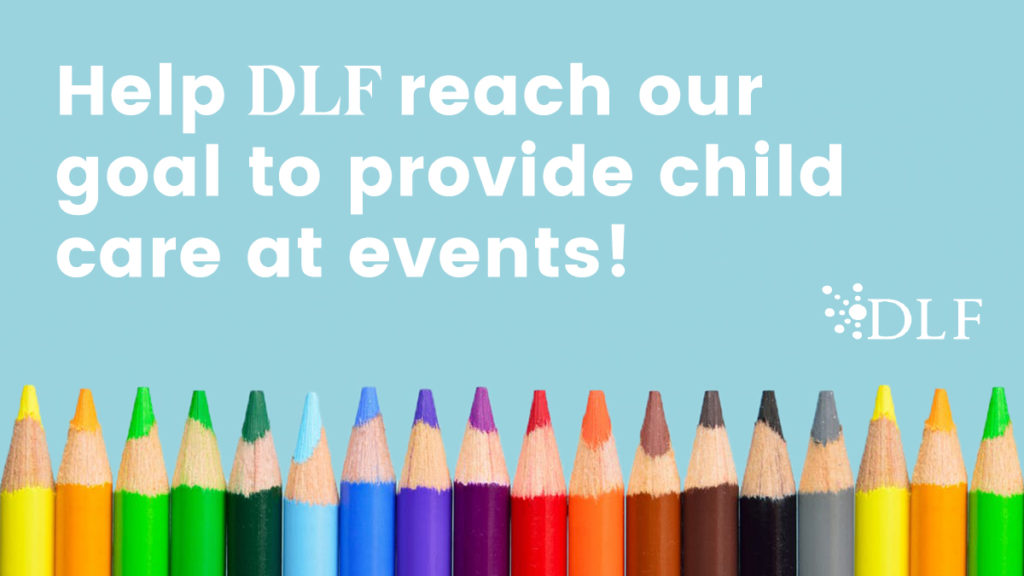 Image is a call to action to donate to the DLF Child Care Fund
