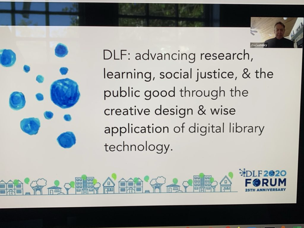 Screenshot of 2020 DLF Forum opening plenary featuring Charles Henry