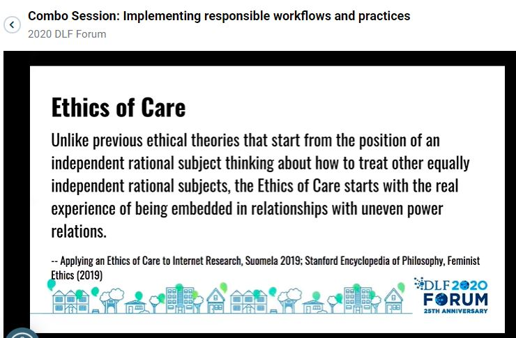 Pair of Screenshots showcasing Forum Panel Citational Acts to center Ethics of Care