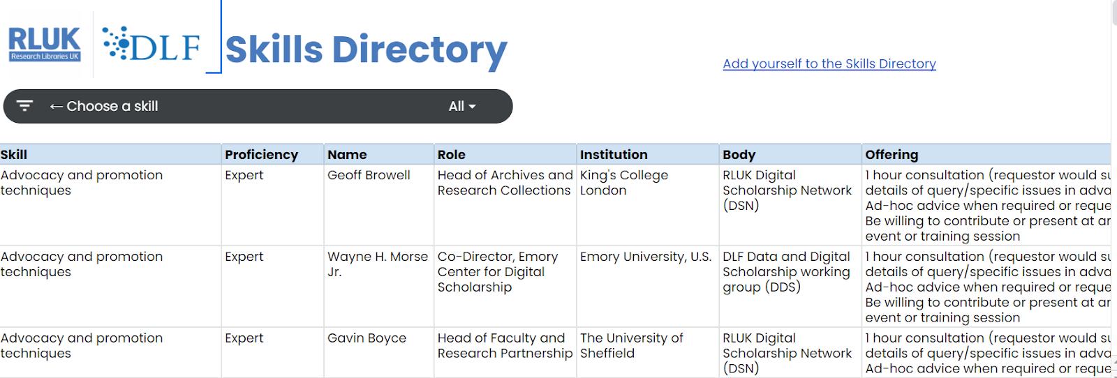 screenshot of the RLUK/DDS skills directory