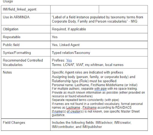 screenshot of descriptive fields