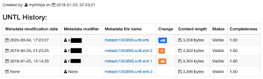 Example of history for an item record, showing timestamps and editors with change summaries and versions