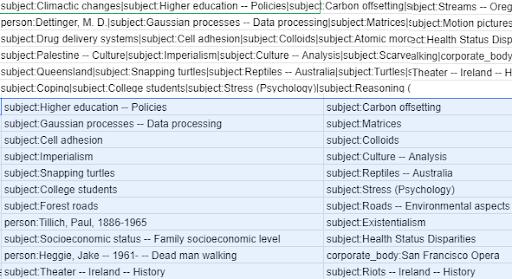 screenshot of taxonomy fields in spreadsheet